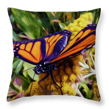 Monarch On Yarrow Throw Pillow