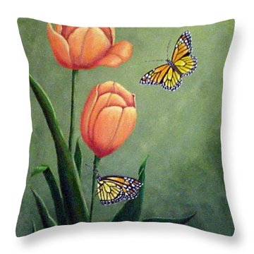Monarchs And Golden Tulips Throw Pillow
