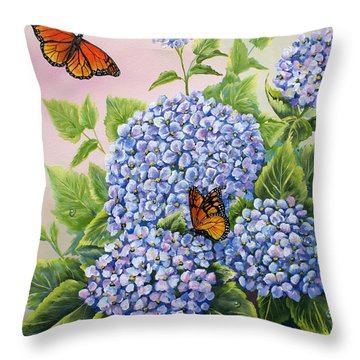 Monarchs And Hydrangeas Throw Pillow by Gail Butler