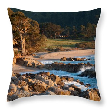 Monastery Beach In Carmel California Throw Pillow