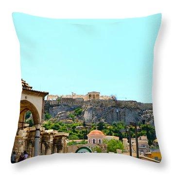 Monastiraki - Athens Throw Pillow by Corinne Rhode