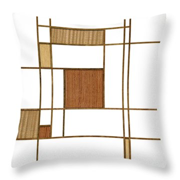 Mondrian In Wood Throw Pillow