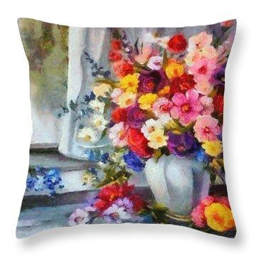 Monet Floral Edged Throw Pillow