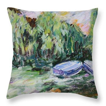 Monet's Boats Throw Pillow by Tara Moorman