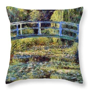 Monet's Bridge Throw Pillow