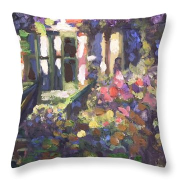 Monet's Home In Giverny Throw Pillow by Donna Tuten