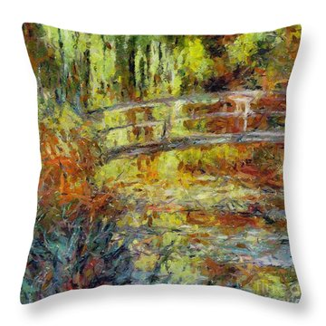 Monet's Japanese Bridge Throw Pillow by Dragica  Micki Fortuna