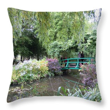 Monet's Japanese Bridge Throw Pillow by Ellen Meakin