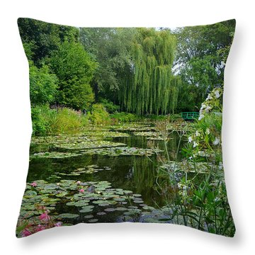 Monet's Pond With Waterlilies And Bridge Throw Pillow by Carla Parris