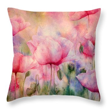 Monet's Poppies Vintage Warmth Throw Pillow