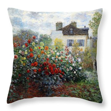 Throw Pillow featuring the photograph Monet's The Artist's Garden In Argenteuil  -- A Corner Of The Garden With Dahlias by Cora Wandel
