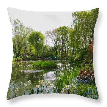 Monet's Water Garden At Giverny Throw Pillow by Alex Cassels