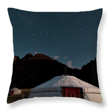Mongolia By Starlight Throw Pillow