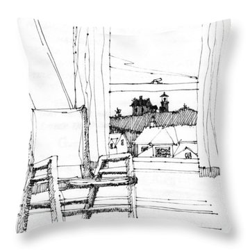 Monhegan Dawn Island Inn Throw Pillow