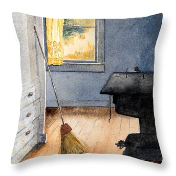 Throw Pillow featuring the painting Monhegan Kitchen by Roger Rockefeller