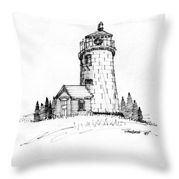 Monhegan Lighthouse 1987 Throw Pillow