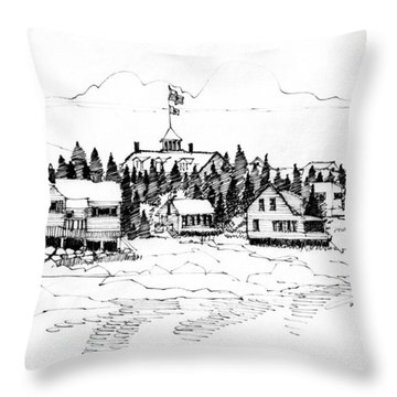 Throw Pillow featuring the drawing Monhegan Village 1987 by Richard Wambach