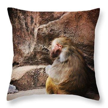 Monkey Business Throw Pillow by Karol Livote