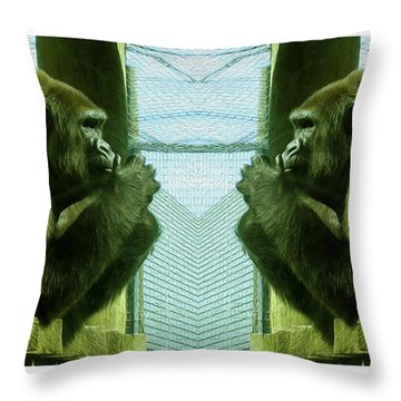 Monkey See Monkey Do Throw Pillow