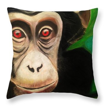 Monkey See Throw Pillow by Renee Michelle Wenker