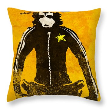Monkey Sheriff Throw Pillow by Pixel Chimp