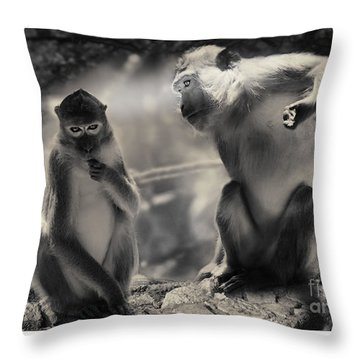 Throw Pillow featuring the photograph Monkeys In Freedom by Christine Sponchia