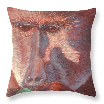 Monkey's Lunch Throw Pillow by Whitney Morton