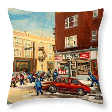 Monkland Street Hockey Game Montreal Urban Scene Throw Pillow by Carole Spandau