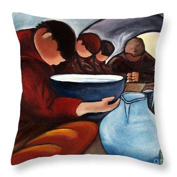 Monks At Prayer Throw Pillow