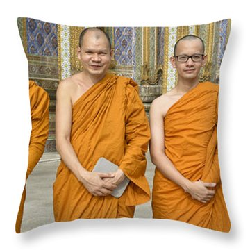 Monks At The Grand Palace Throw Pillow