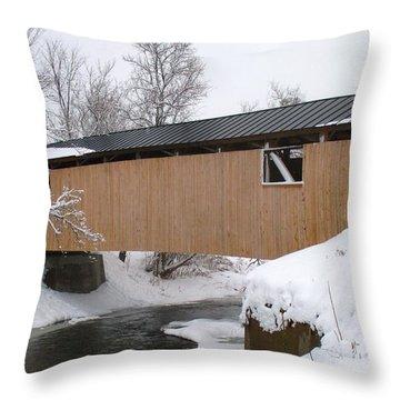 Monkton Covered Bridge Throw Pillow