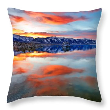 Mono Lake Sunset 3 Throw Pillow