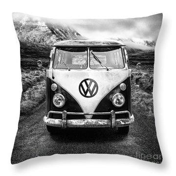 Mono Vw Camper Scotland  Throw Pillow