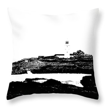 Monochromatic Godrevy Island And Lighthouse Throw Pillow by Terri Waters