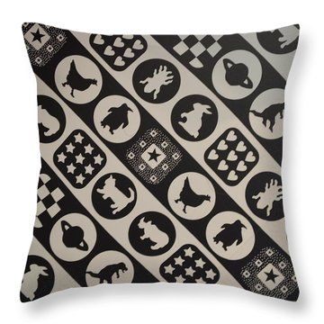 Monochrome Mosaic Throw Pillow by Sonali Gangane
