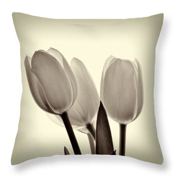 Monochrome Tulips With Vignette Throw Pillow