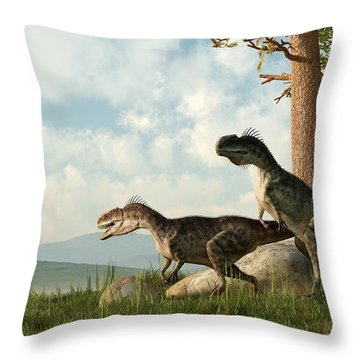 Monolophosaurs On The Hunt Throw Pillow