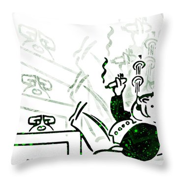 Monopoly Man - Bank Dividend Throw Pillow