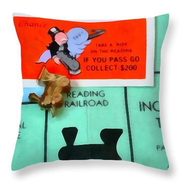 Monopoly Man Throw Pillow by Dan Sproul