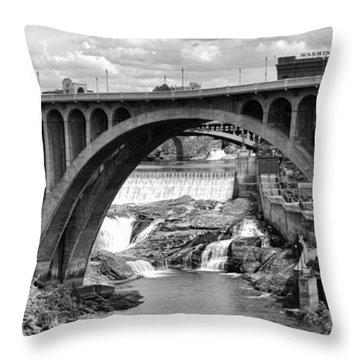 Monroe St Bridge Of Spokane Throw Pillow