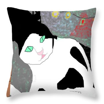 Throw Pillow featuring the painting Monsieur Topper by Anita Dale Livaditis