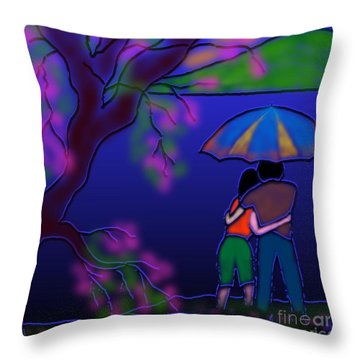 Monsoon Throw Pillow by Latha Gokuldas Panicker