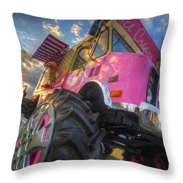 Monster Ice Cream Truck Throw Pillow