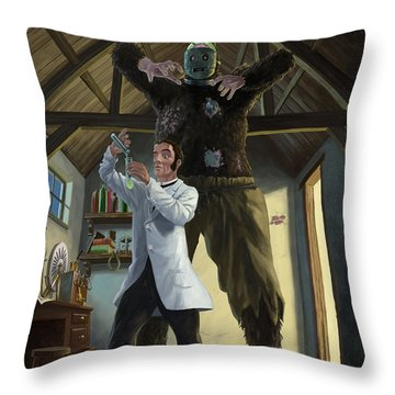 Monster In Victorian Science Laboratory Throw Pillow