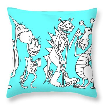 Monster Queue Blue Throw Pillow
