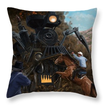 Monster Train Attacking Cowboys Throw Pillow