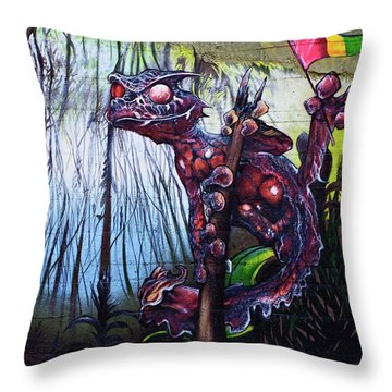 Monster With Flag Throw Pillow