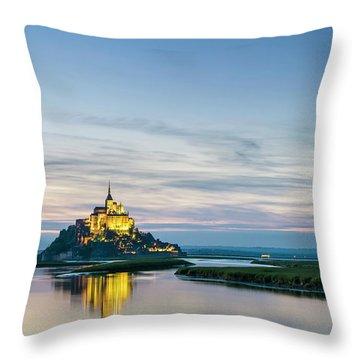 Mont-saint-michel Abbey At Sunset Throw Pillow