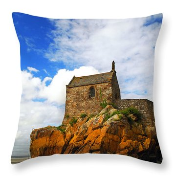 Mont Saint Michel Abbey Fragment Throw Pillow by Elena Elisseeva
