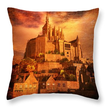 Mont Saint-michel Throw Pillow by Kylie Sabra